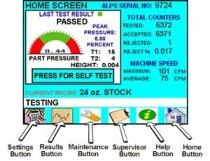 ALPS Leak Tester Controls - main screen